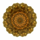Beautiful Pattern Rosette Of Yellow Glass