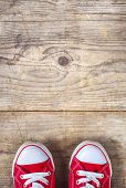 Sneakers on a wooden floor