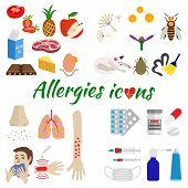 Allergy icons set