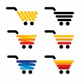 Vector Icon Simple Abstract Line Shopping Carts Collection Set