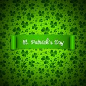Saint Patricks Day Card, Ribbon On Shamrock Leaves Pattern