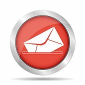 Envelope Mail Symbol On Red Background