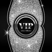 Silver Vip Vector Illustration On Shiny Glitter Background