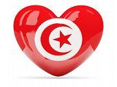 Heart Shaped Icon With Flag Of Tunisia