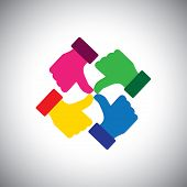 Vector Icon Of Colorful Thumbs Up Hands - Concept Of Group Unity.