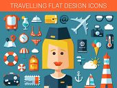 Set of modern travel flat design icons