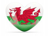 Heart Shaped Icon With Flag Of Wales