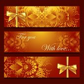 Vector template banners with filigree pattern