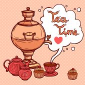 Tea Background With Samovar