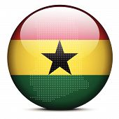 Map With Dot Pattern On Flag Button Of Republic Of Ghana