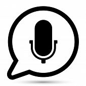 Vector bubble with microphone icon