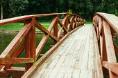 pic of old bridge  - Old Red Rustic Wooden Bridge Over Pond Background - JPG
