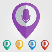 Vector flat pin with microphone icon