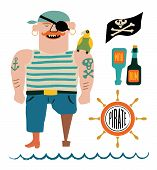 Cartoon pirate vector set. Pirate with a parrot on shoulder, flag with skull and bones, bottles of r