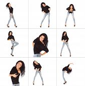 Collage Of Glamorous Young Woman In Black Jacket And Jeans