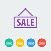 Vector sale flat circle icon