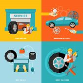 stock photo of designated driver  - Tire service design concept with swappable drivers online buying 24 hours work flat icons isolated vector illustration - JPG