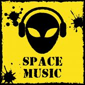 Vector alien space music logo on yellow background
