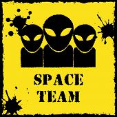 pic of alien  - Vector alien space team logo on yellow background - JPG