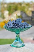 Frosted Grapes In A Glass Vase