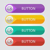 Vector flat buttons with wallet icon