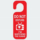 Vector hotel tag do not disturb with tv game icon