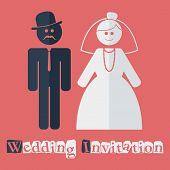 Vector wedding invitation flat