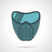 Blue paintball mask flat vector icon