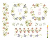 Collection Of Hand Drawn Flowers. Elements For Your Design.  Vector Illustration.