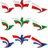 picture of holland flag  - Set of emblems from the stylized birds - JPG