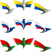 Bird Fly Flag Sign Symbol Insignia Ukraine Russia Belarus