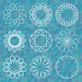 Spirograph Round Ornament Set Over Polygonal Background