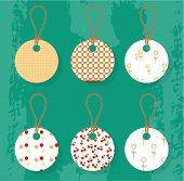 Set of six stickers with seamless pattern, retro style