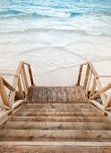 Empty Wooden Stairs Goes To The Sea
