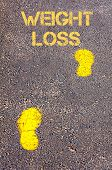 Yellow Footsteps On Sidewalk Towards Weight Loss Message
