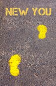 Yellow Footsteps On Sidewalk Towards New You Message