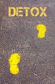 Yellow Footsteps On Sidewalk Towards Detox Message