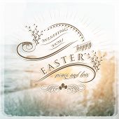 Happy Easter Typographical Background vintage retro style