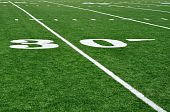 30 Yard Line On American Football Field