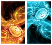 foto of cosmic  - Two Abstract Fractal vertical backgrounds with cosmic light spheres planet for screen mobile telephone tablet monitor - JPG