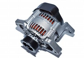 pic of dynamo  - New car alternator on a white background - JPG