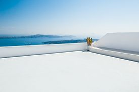 stock photo of greek-island  - White architecture on Santorini island Greece - JPG