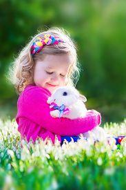 picture of bunny rabbit  - Adorable little girl - JPG