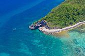 image of deserted island  - aerial view of Boracay island - JPG