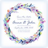 picture of life event  - Wedding invitation design template with watercolor floral circular frame - JPG