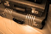 foto of old suitcase  - Detail of old suitcases symbolizing journey or embarking on a trip adventure - JPG