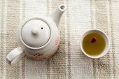 picture of teapot  - fresh healthy hot tea in a teapot and cup - JPG