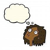 picture of stare  - cartoon staring woman with thought bubble - JPG