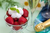 picture of whipping  - Ripe strawberries with whipped cream and champagne  - JPG
