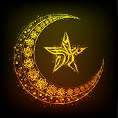 foto of crescent-shaped  - Beautiful floral design decorated golden crescent moon and Arabic calligraphy of text Eid Mubarak in glowing star shape on brown background for Muslim community festival celebration - JPG